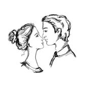 Croquis du couple d'amoureux — Vecteur