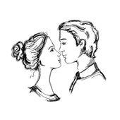 Schizzo di una coppia di innamorati — Vettoriale Stock