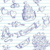 Plano de fundo sem emenda com elementos de design de casamento — Vetorial Stock