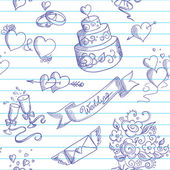 結婚式のデザイン要素とのシームレスな背景 — ストックベクタ