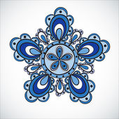Blue flower pattern. Hand drawn style — Stock Vector
