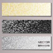 Conjunto de banners con paillettes metálicos brillantes — Vector de stock