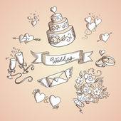 Dibujo de elementos de diseño de bodas — Vector de stock