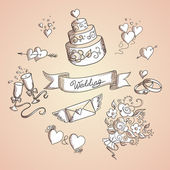 Sketch of wedding design elements — Vector de stock