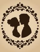 Silhouetten von paar küssen — Stockvektor