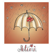 Sketch of an umbrella in the rain — Stock Vector