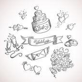 Desenho de elementos de design de casamento — Vetorial Stock