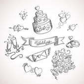 Náčrtek svatebních návrhových prvků — Stock vektor