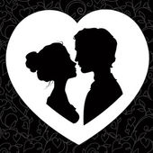Silhouettes of loving couple — Stock Vector