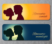 Banners with silhouettes of kissing couple — Stock Vector