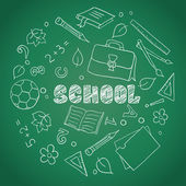 Sketch of school elements — Stock Vector