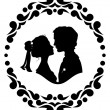 Silhouettes of bride and groom — Stock Vector
