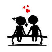 Silhouettes 的男孩和女孩 — 图库矢量图片