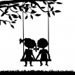 Silhouettes of boy and girl — Stock Vector