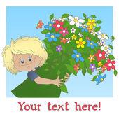 Muchacho con un gran ramo de flores — Vector de stock