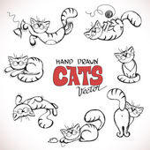 Sketch illustration of playful cats — Stock Vector