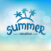 Summer vacation - typographic design — Stok Vektör