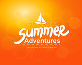 Summer adventures - typographic design — Stock Vector