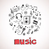 Sketch of music elements — Stock Vector
