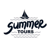 Summer tours - typographic design — Stock Vector