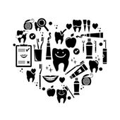 Dental care symbols in the shape of heart — Vector de stock