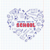School objects in the shape of heart. — Stok Vektör