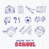 School objects, sketch style — Stock Vector