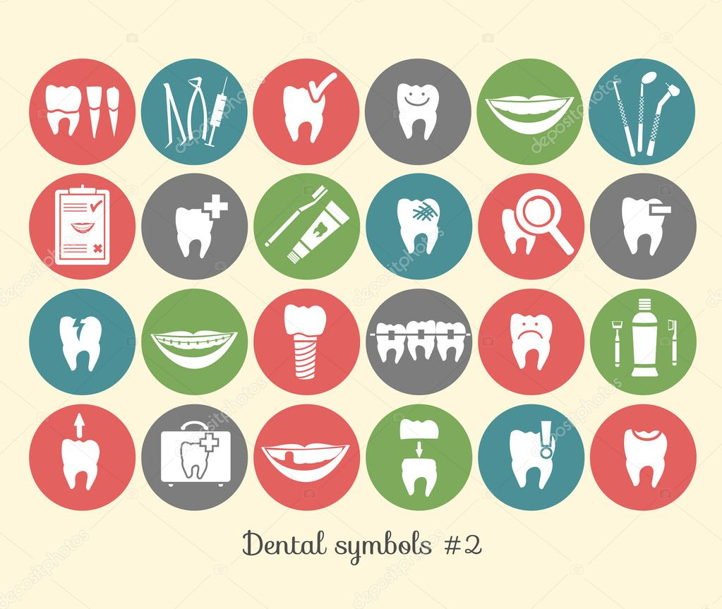 Conjunto de símbolos de Odontologia, parte 2 — Vetor de Stock ...