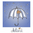 Sketch of an umbrella in the rain — Stock Vector #51500643