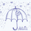 Sketch of an umbrella in the rain — Stock Vector #51500647
