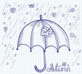 Sketch of an umbrella in the rain — Stock Vector