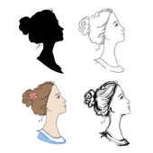 Woman head profiles — Stock Vector