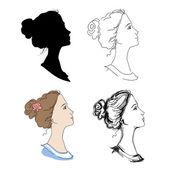Woman head profiles — Stock Vector
