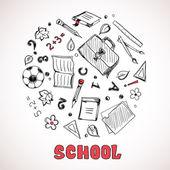 Sketch of school elements — Stock Vector