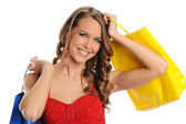 Young and beautiful woman with shopping bags — Stock Photo