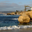 Cliffs on the California coastline in La Jolla - Stock Photo