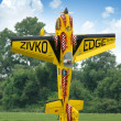 Stock Photo: Radio control airplane hovering