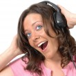 Stock Photo: Beautiful girl with headphones