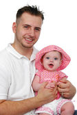 Father and baby daughter smiling — Stock Photo