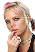 Gorgeous girl with piercings and jewery — Stock Photo