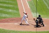 Alberrt Pujols hiting the baseball — Stock Photo