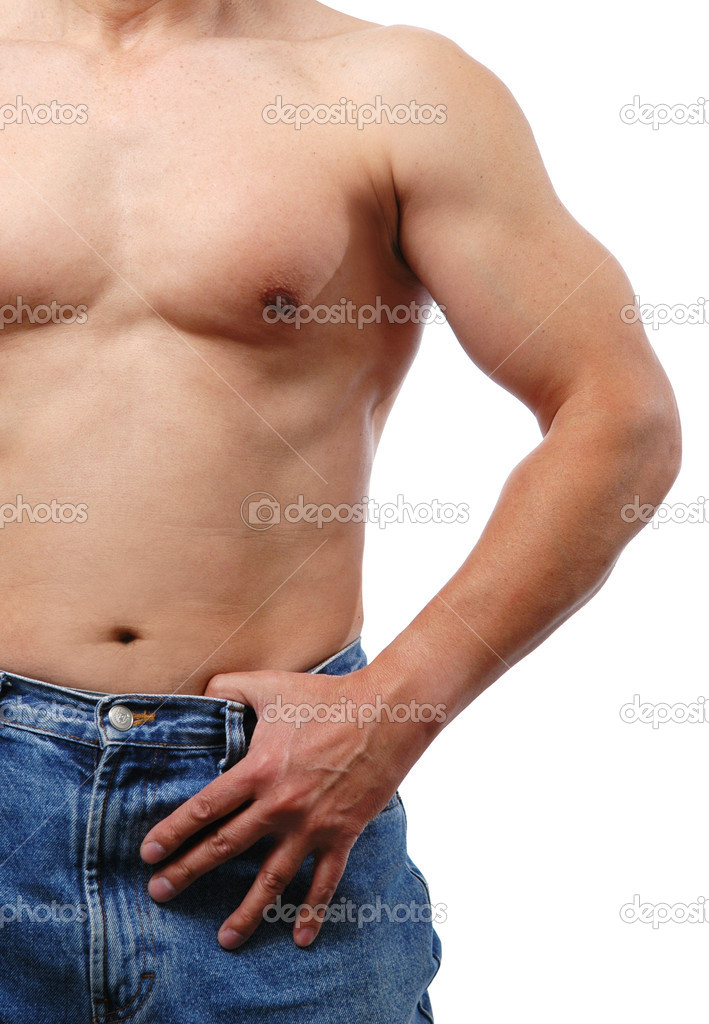 Torso of a man wering jeans isolated on white — Stock Photo #12850782