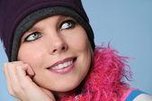 Portrait of winter girl smiling — Stock Photo