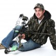 Young hunter with bow — Stock Photo #13109304