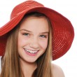 Gougeous teen girl with red hat — Stock Photo