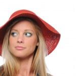 Девушка с красной шляпе — Стоковое фото