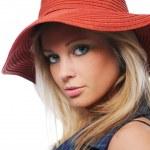 Великолепная девушка Вит красный шляпа — Стоковое фото