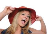 Великолепная девушка шляпа Вит показаны волнение — Стоковое фото