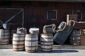 Barrels of gun powder in a rustic place — Zdjęcie stockowe