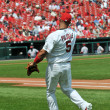 Stock Photo: Albert Pujols at Busch Stadium throwing ball